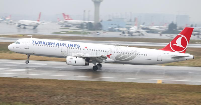 Airplane Landing to Airport. ISTANBUL, TURKEY - MARCH 04, 2018: Turkish Airlines Airbus A321-231 (CN 3405) landing to Istanbul Ataturk Airport. THY is the flag stock image