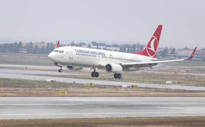 Airplane Landing to Airport. ISTANBUL, TURKEY - MARCH 04, 2018: Turkish Airlines Boeing 737-8F2 (CN 40990) landing to Istanbul Ataturk Airport. THY is the flag royalty free stock image