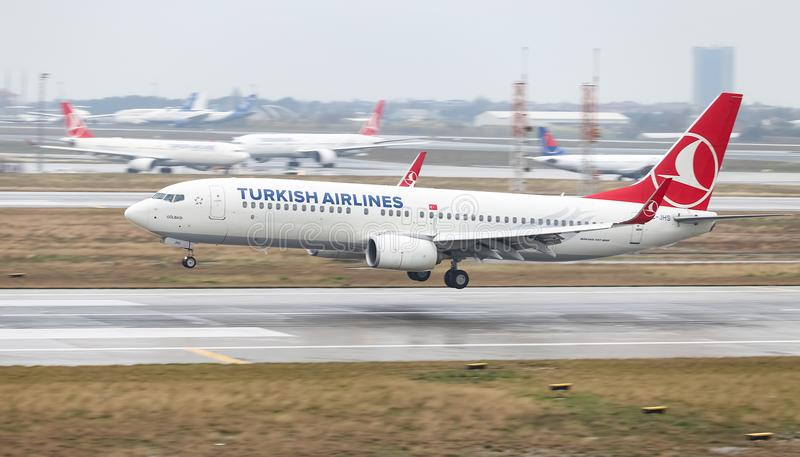 Airplane Landing to Airport. ISTANBUL, TURKEY - MARCH 04, 2018: Turkish Airlines Boeing 737-8F2 (CN 40991) landing to Istanbul Ataturk Airport. THY is the flag royalty free stock images