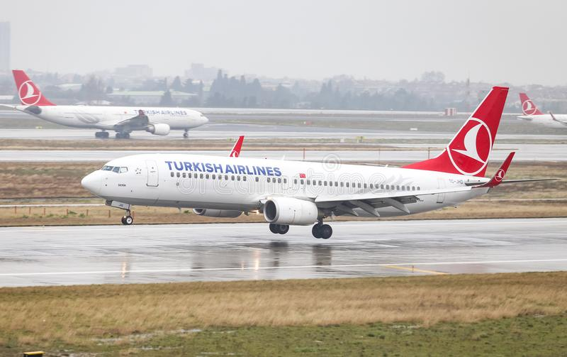 Airplane Landing to Airport. ISTANBUL, TURKEY - MARCH 04, 2018: Turkish Airlines Boeing 737-8F2 (CN 35743) landing to Istanbul Ataturk Airport. THY is the flag royalty free stock image