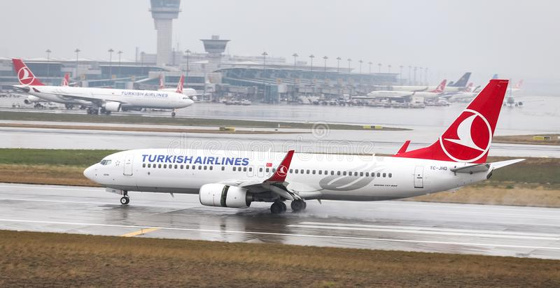 Airplane Landing to Airport. ISTANBUL, TURKEY - MARCH 04, 2018: Turkish Airlines Boeing 737-8F2 (CN 35743) landing to Istanbul Ataturk Airport. THY is the flag stock photos