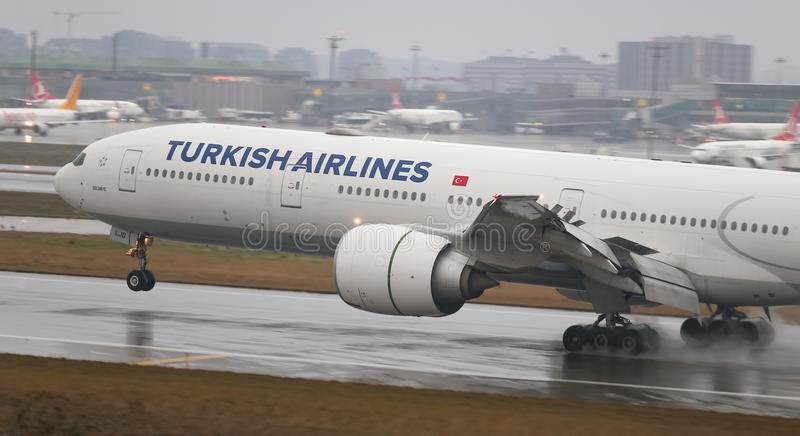 Airplane Landing to Airport. ISTANBUL, TURKEY - MARCH 04, 2018: Turkish Airlines Boeing 777-3F2ER (CN 44125) landing to Istanbul Ataturk Airport. THY is the flag royalty free stock photos