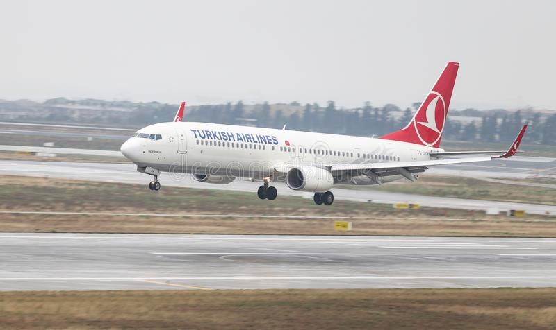 Airplane Landing to Airport. ISTANBUL, TURKEY - MARCH 04, 2018: Turkish Airlines Boeing 737-9F2ER (CN 42011) landing to Istanbul Ataturk Airport. THY is the flag stock photos