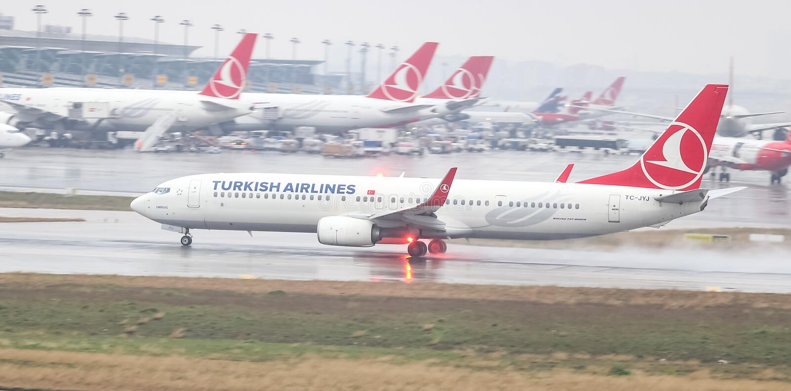 Airplane Landing to Airport. ISTANBUL, TURKEY - MARCH 04, 2018: Turkish Airlines Boeing 737-9F2ER (CN 40986) takes off from Istanbul Ataturk Airport. THY is the royalty free stock photography