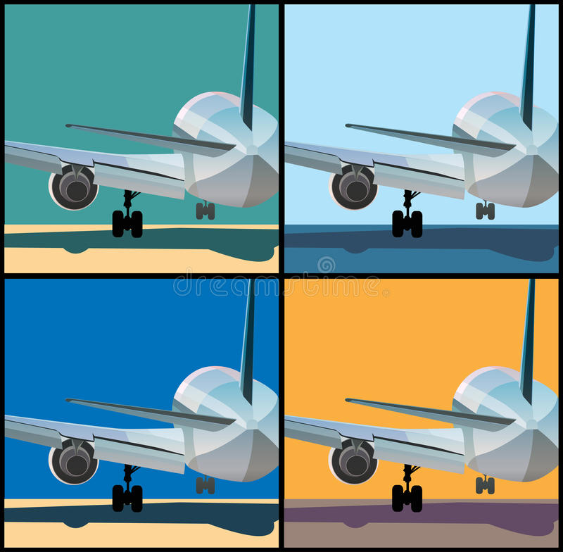 Airplane is landing or to take off. Stylized vector illustration on the theme of aviation. Big airplane is landing or to take off royalty free illustration