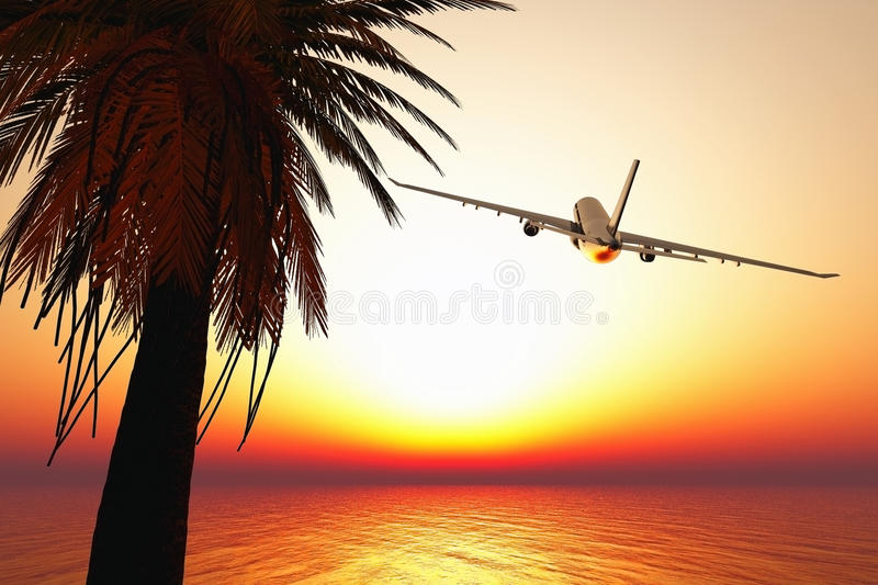 Download Airplane Leaving Tropical Paradise 3D Render Stock Illustration - Image: 23077408
