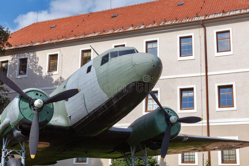 Airplane Li-2 at open air museum of SNP in Banska Bystrica, Slovakia royalty free stock photo