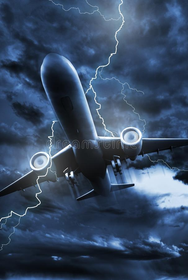 Airplane Lightning Strike royalty free illustration
