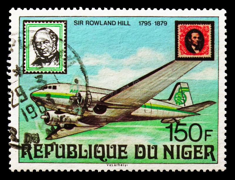 Airplane, Lincoln stamp, Sir Rowland Hill, Death Centary serie, circa 1979. MOSCOW, RUSSIA - AUGUST 18, 2018: A stamp printed in Niger shows Airplane, Lincoln royalty free stock image