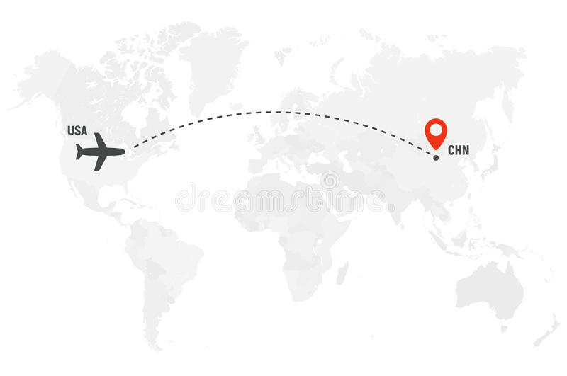 Airplane line path. Air plane flight route with start point and dash line trace. Plane icon over world map. Vector. Concept illustration stock illustration