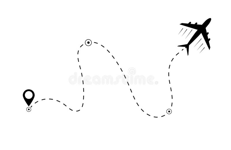 Airplane line path  icon of air plane flight route. Airplane travel concept, symbol  on isolated background. Flat  black airplane royalty free illustration