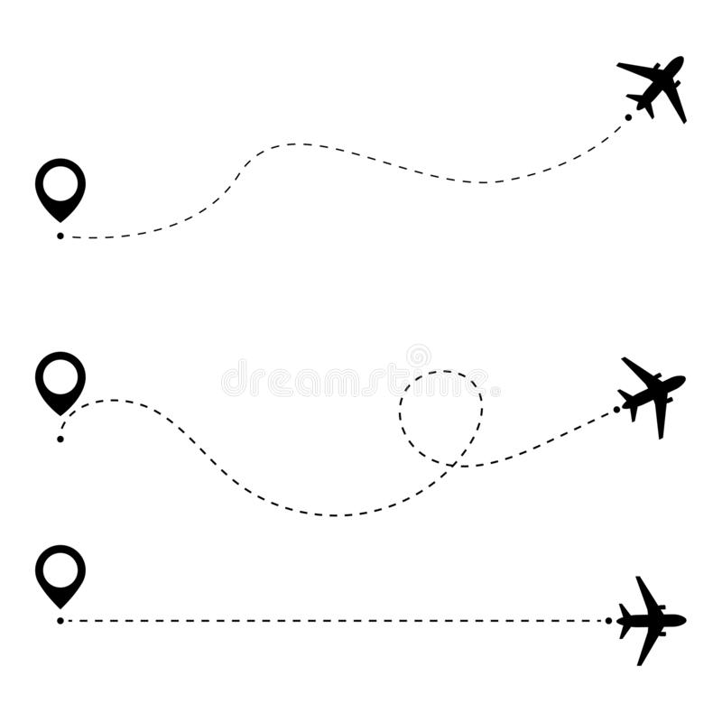 Airplane line path route. Airplane travel concept with map pins, GPS points. Aircraft route dotted lines. Aircrafts and map. Pointer symbols vector illustration royalty free illustration
