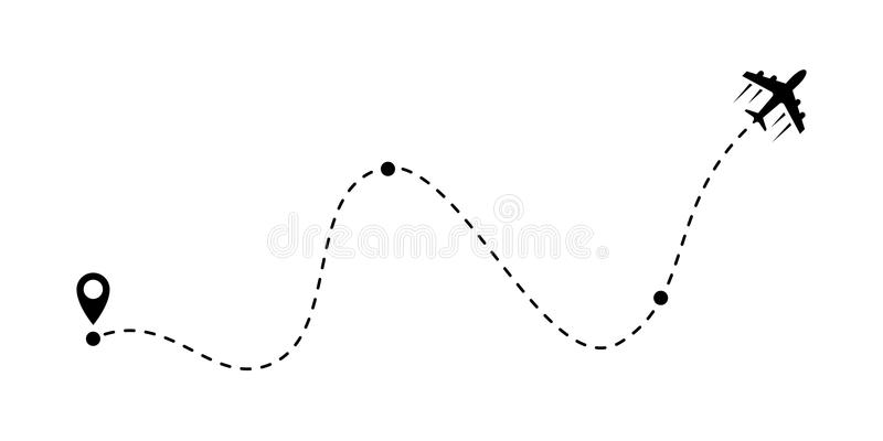 Airplane line path vector air plane route icoin. Airplane fligth route or air plane destination line path vector icon stock illustration