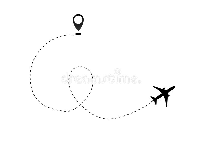 Airplane line path vector icon of air plane flight route dash line trace with start point . Vector object 10 EPS vector illustration