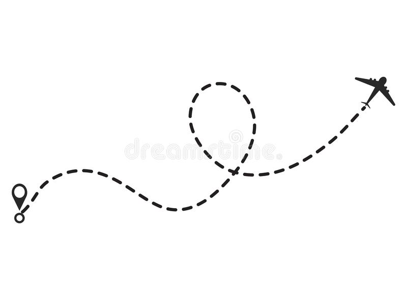Airplane line path vector icon of air plane flight route with st. Art point and dash line trace, vector illustration royalty free illustration