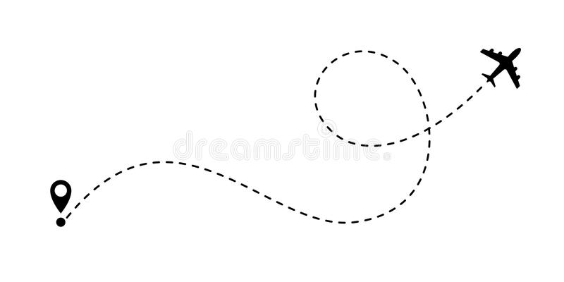 Airplane path vector air plane route line. Airplane line path vector icon of air plane flight route with start point and dash line trace royalty free illustration