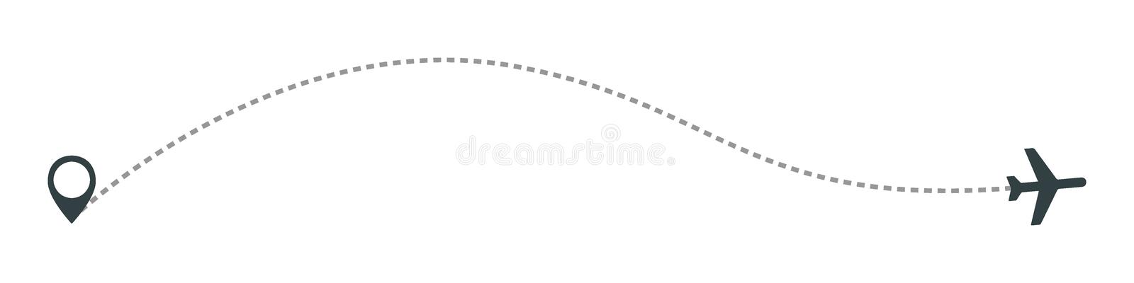 Airplane line path vector icon of air plane flight route with start point and dash line trace. Aircraft clip art icon with route path track in black and white vector illustration