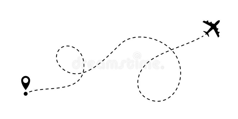 Airplane line path vector travel line icon. Airplane line path vector icon of start point and dash line trace for air trip or travel royalty free illustration