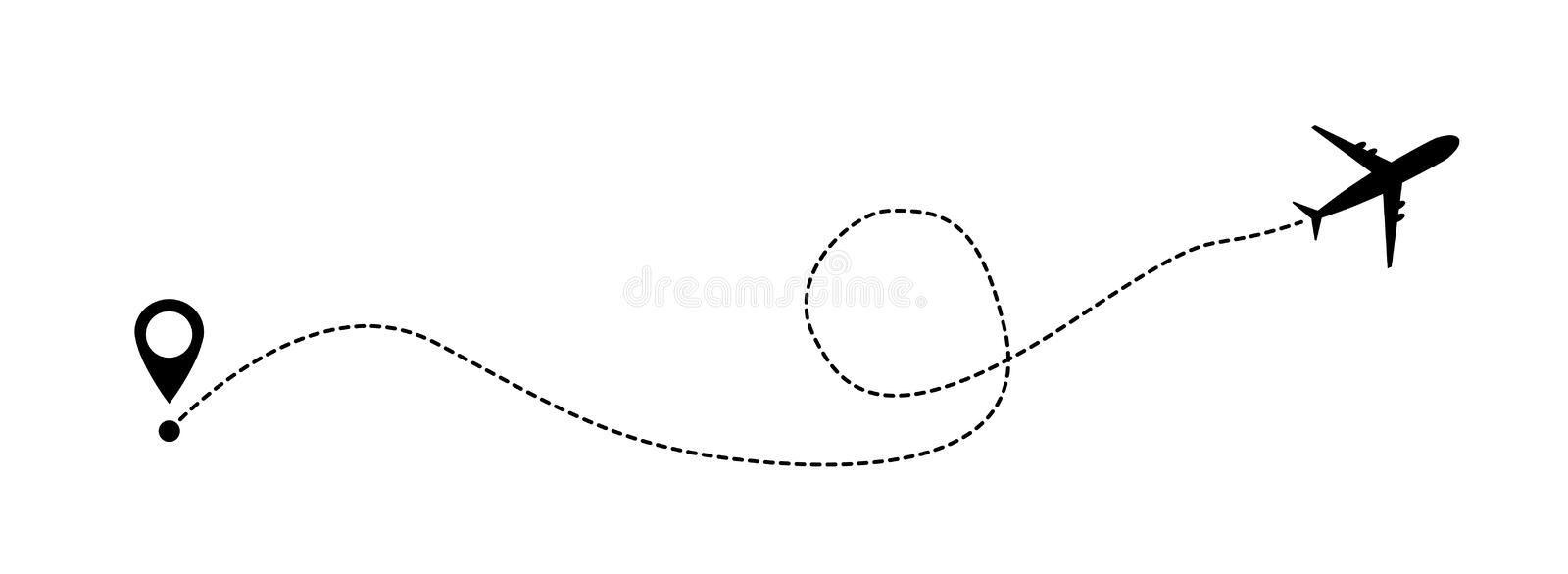 Airplane line vector icon of air plane flight route with start point and line trace vector illustration