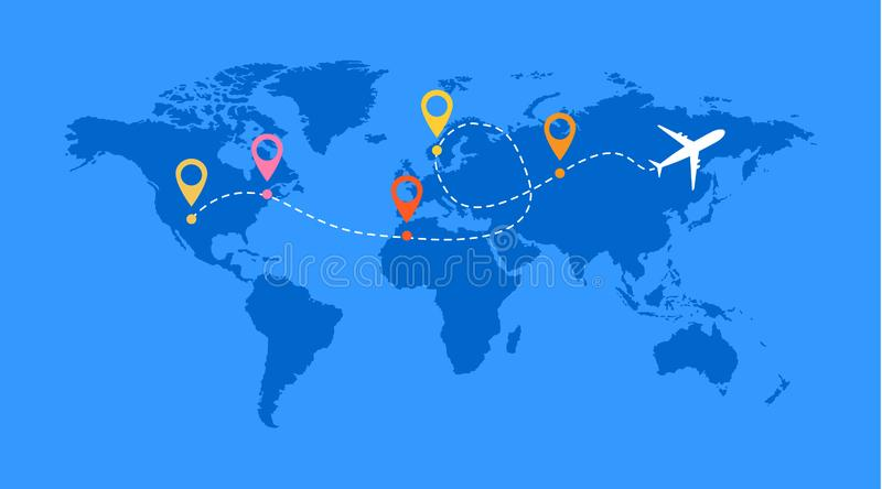 Airplane line vector icon of air plane flight route with start point and line trace royalty free illustration