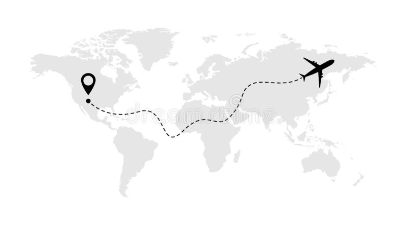 Airplane line vector icon of air plane flight route with start point and line trace stock illustration