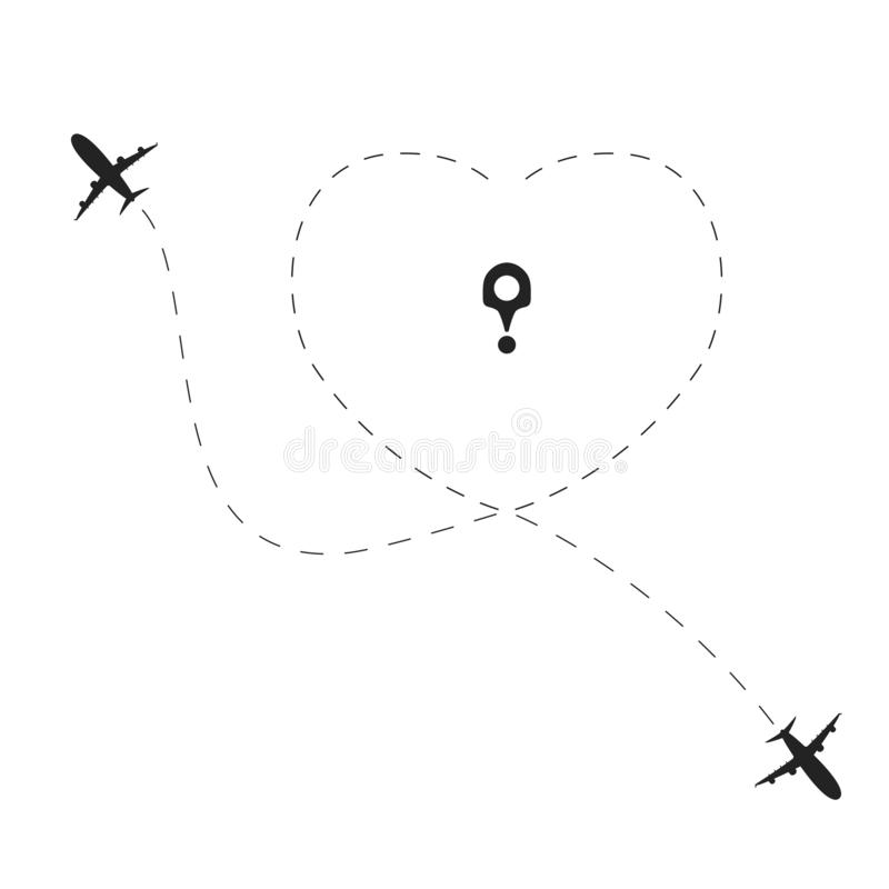 Airplane with love dotted route. Travel heart line path concept Planes traces in heart shape. Vector royalty free illustration