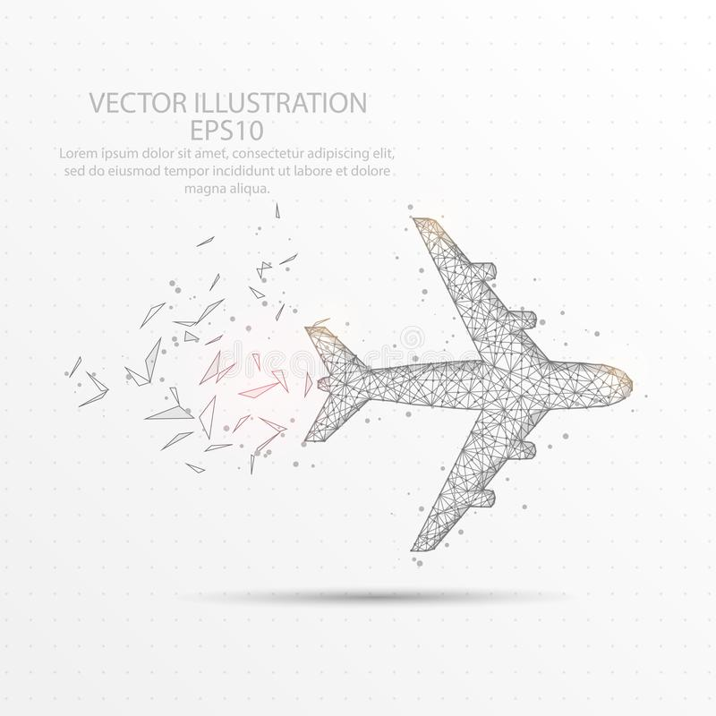 Free Airplane Low Poly Wire Frame On White Background. Stock Image - 120875121