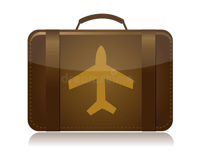 Download Airplane Luggage Brown Illustration Stock Vector - Illustration of destination, retro: 19147773