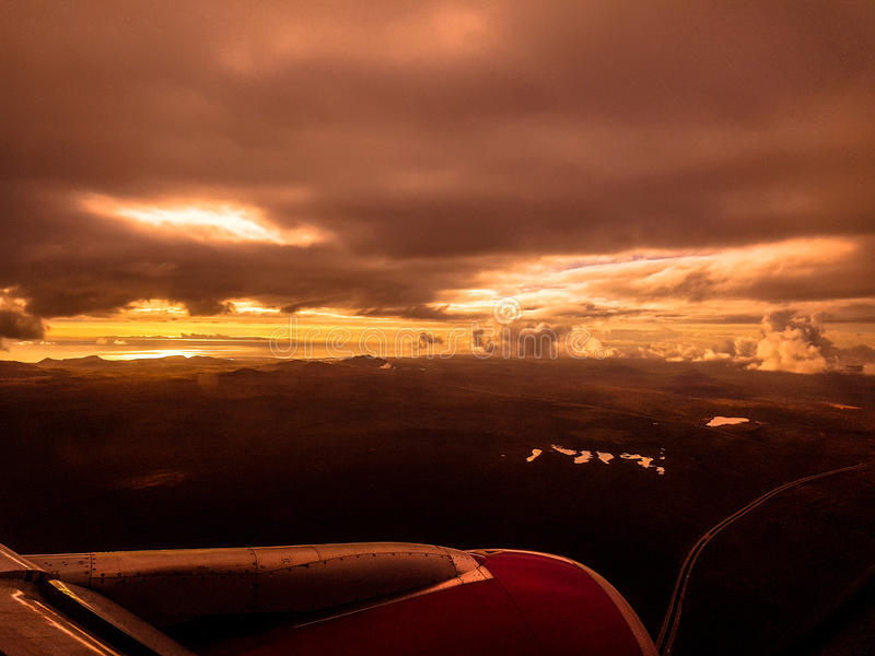 Airplane Mars iceland vulcano royalty free stock images