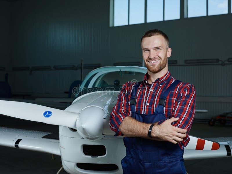 Airplane mechanic royalty free stock image