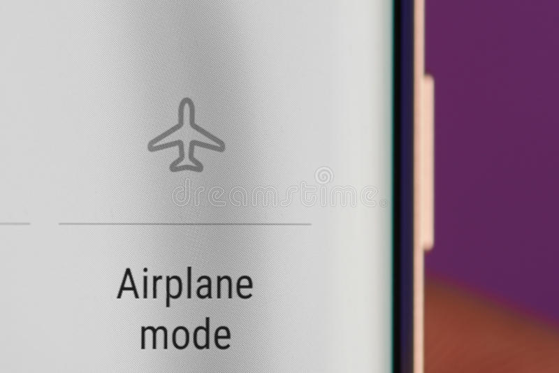 Airplane mode icon. New york, USA - May 22, 2017: Airplane mode on smarphone screen close-up stock photography