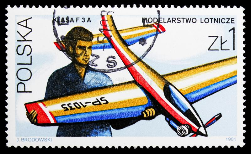 Airplane, Models serie, circa 1981. MOSCOW, RUSSIA - SEPTEMBER 15, 2018: A stamp printed in Poland shows Airplane, Models serie, circa 1981 stock images