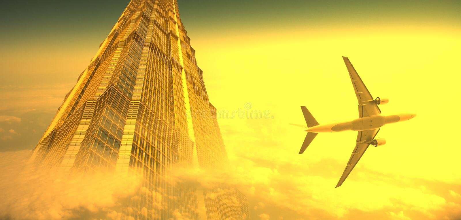 Airplane and the modern building stock images