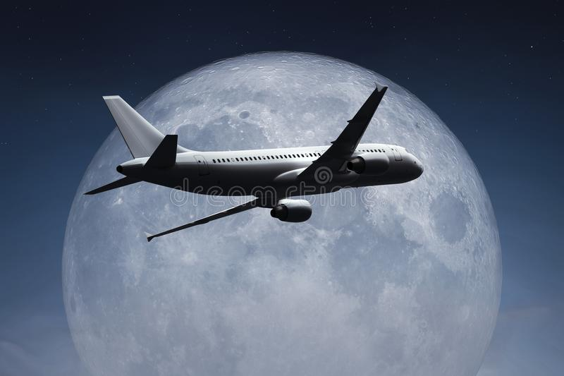 An airplane and the moon vector illustration