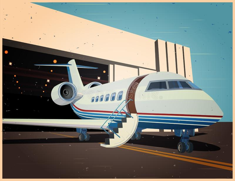 Airplane near the hangar old Poster vector illustration