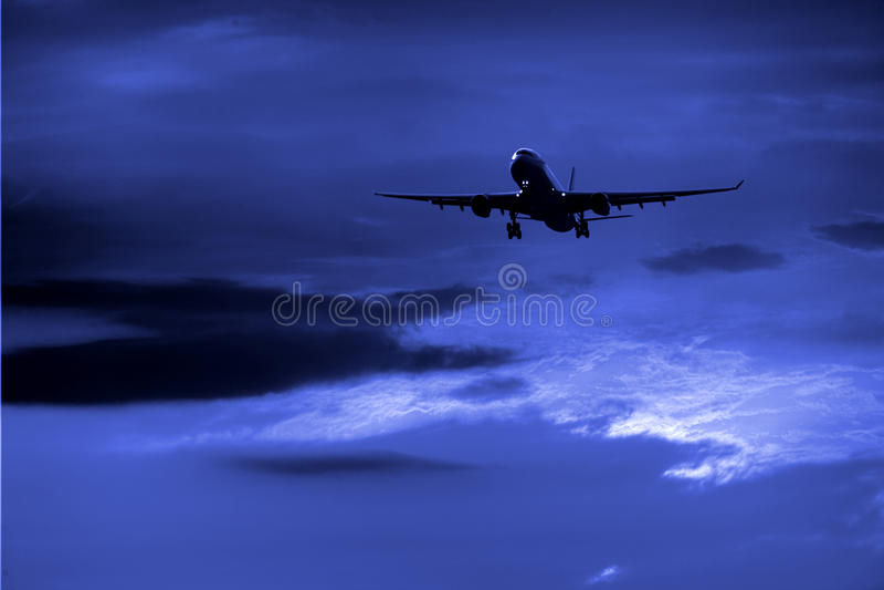 airplane night στοκ εικόνα