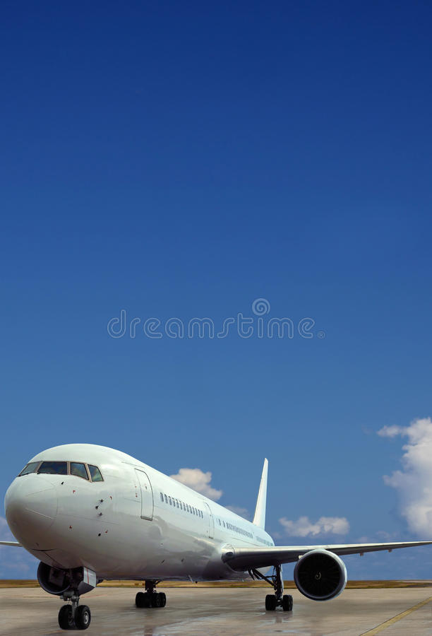 Free Airplane On Airport. Blue Sky Background. Stock Image - 18154931