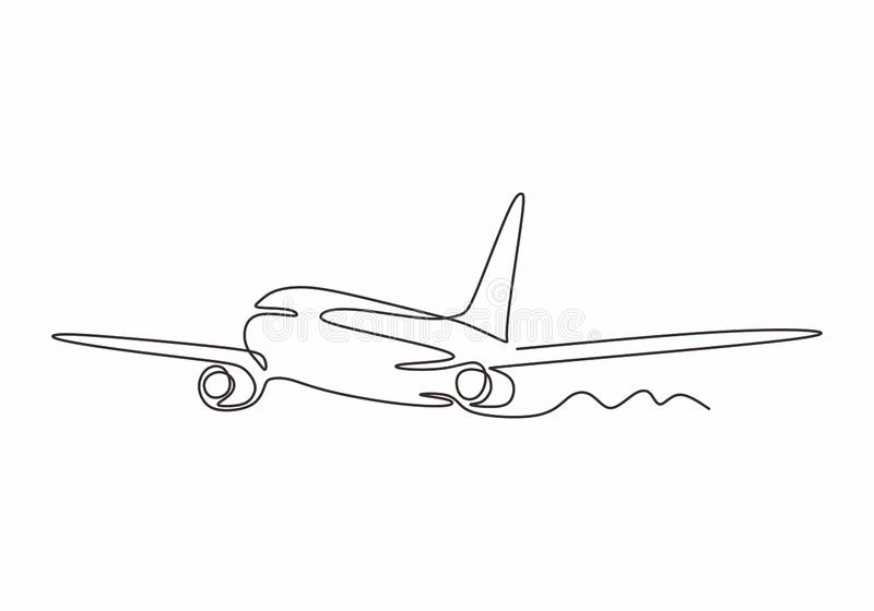 Airplane one line drawing minimalism design vector illustration. Continuous single sketch lineart simplicity style royalty free illustration