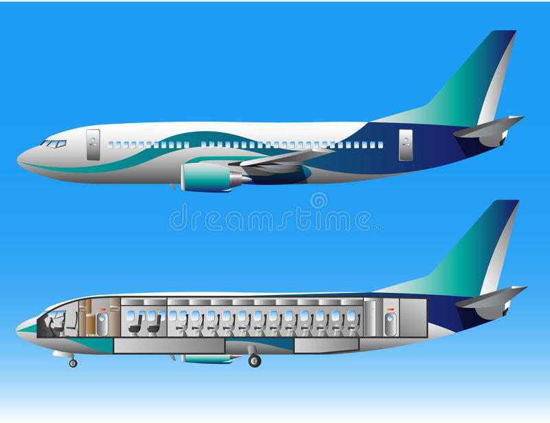 Airplane outside and inside. Vector illustration vector illustration