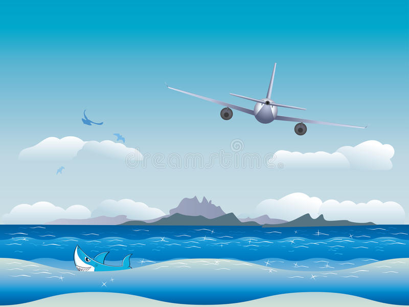Download Airplane over Sea stock vector. Image of summer, blue - 42568099