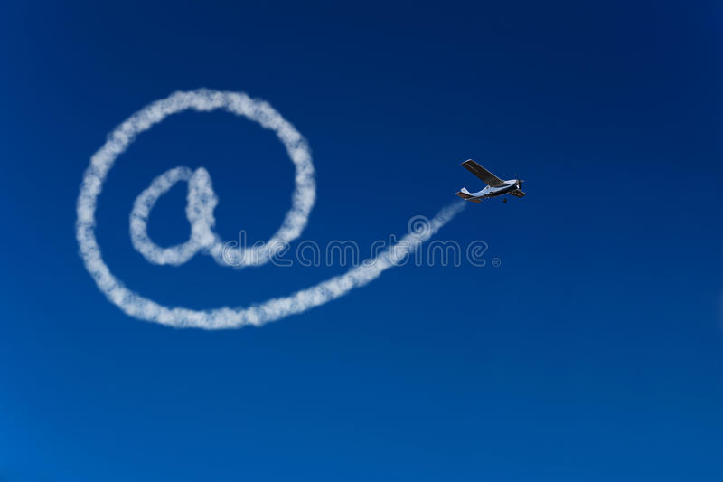 Airplane painting at sign in sky stock illustration