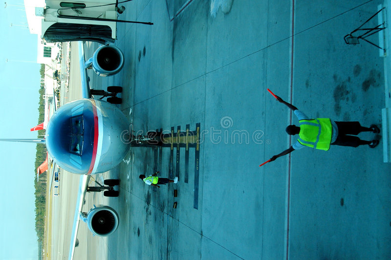 Airplane parking royalty free stock images