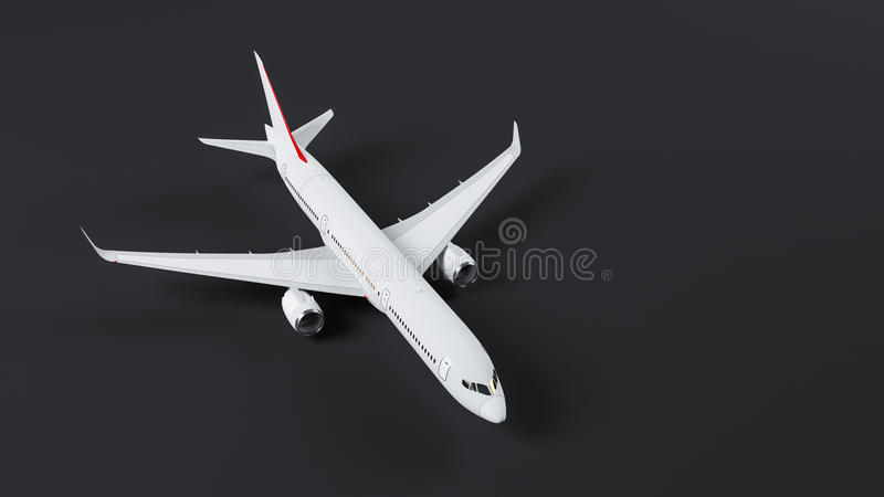 Airplane. Passenger airplane A360 800 on neutral background, top view vector illustration