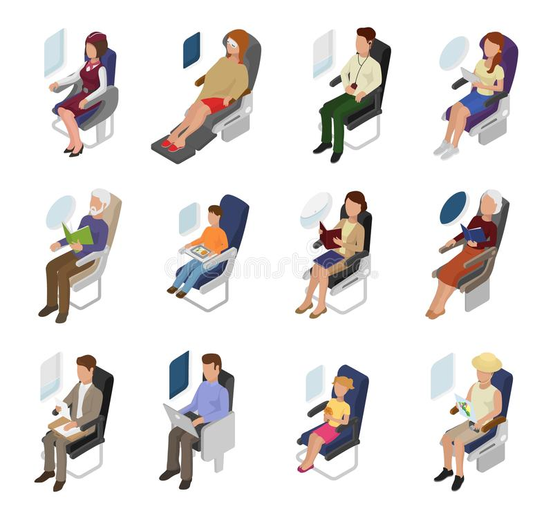 Airplane passenger vector people businessman woman character sitting in plane near window illustration flight set of stock illustration