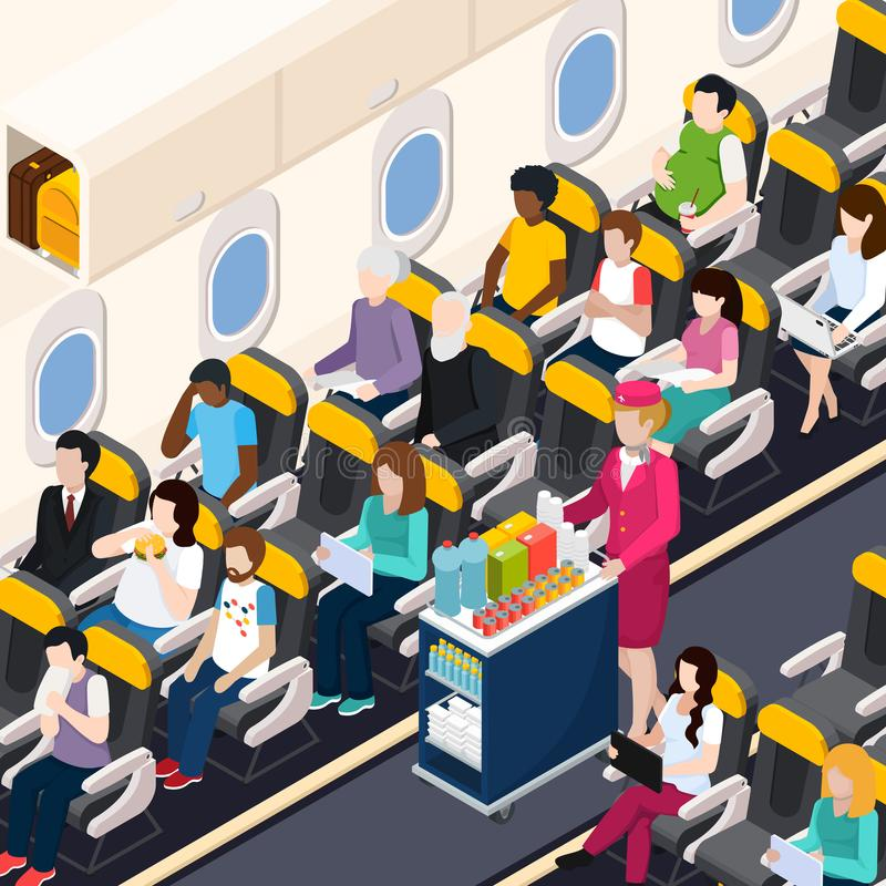Airplane Passengers Composition stock illustration