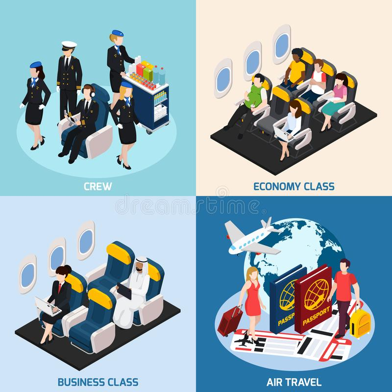 Airplane Passengers Concept Icons Set royalty free illustration