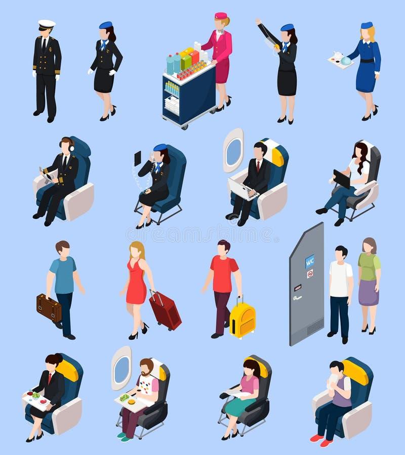 Airplane Passengers Set vector illustration