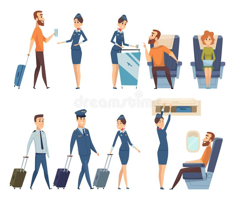 Airplane passengers. Stewardess in uniform boarding airplane safety vector cartoon characters stock illustration
