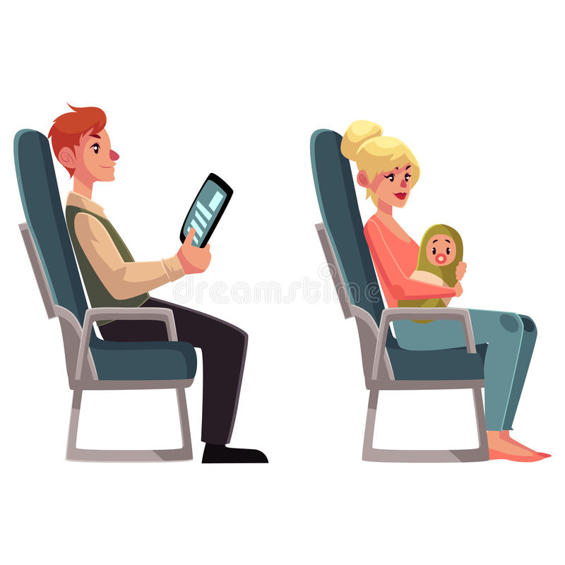 Airplane passengers - woman with baby and man reading tablet stock illustration