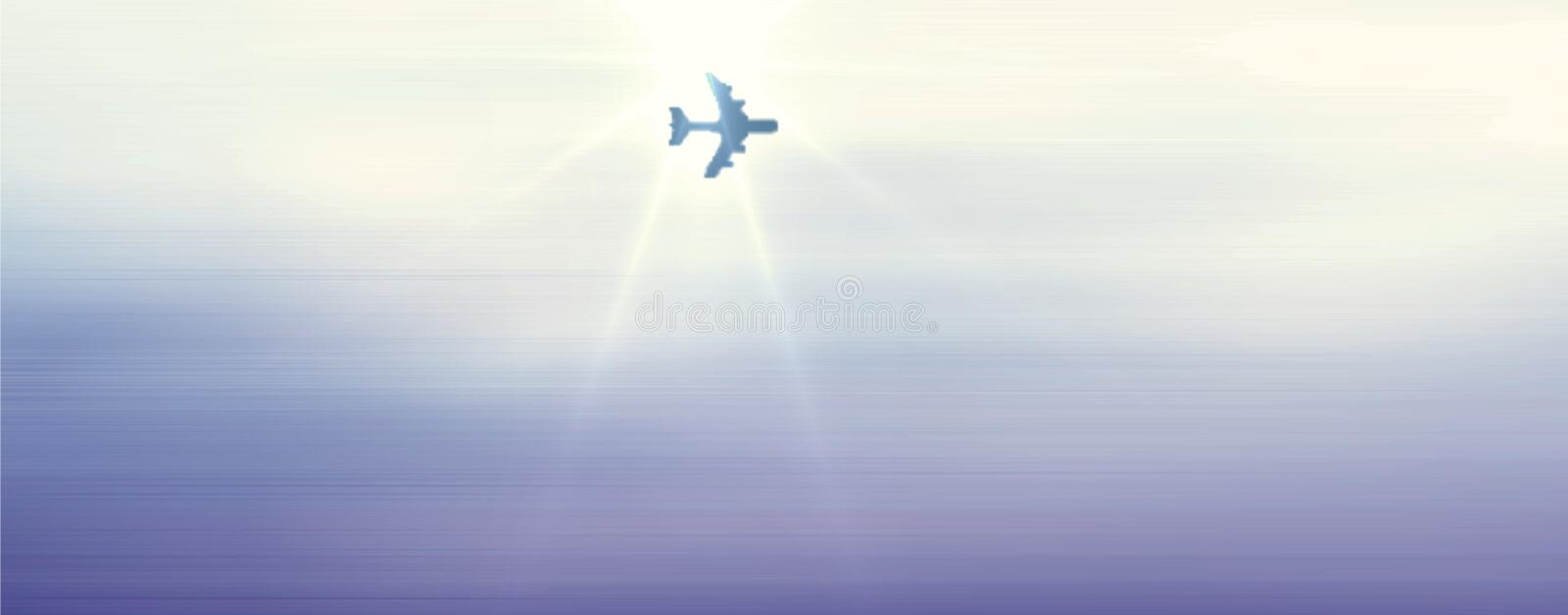 Airplane passing under sunlight in the beautiful blue sky with cloudy effect computer generated image and wallpaper design vector illustration